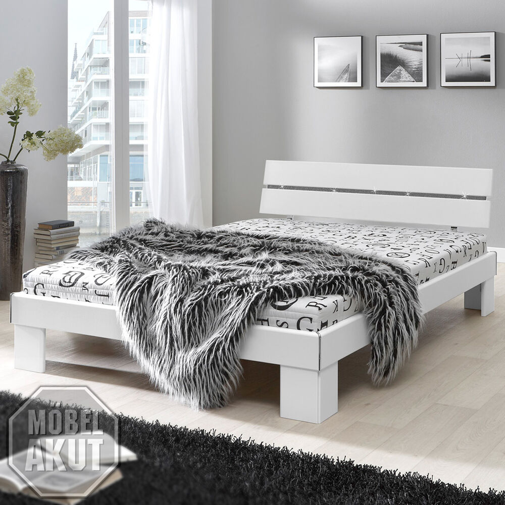 bett flow futonbett in wei inkl matratze rollrost 140x200 ebay. Black Bedroom Furniture Sets. Home Design Ideas