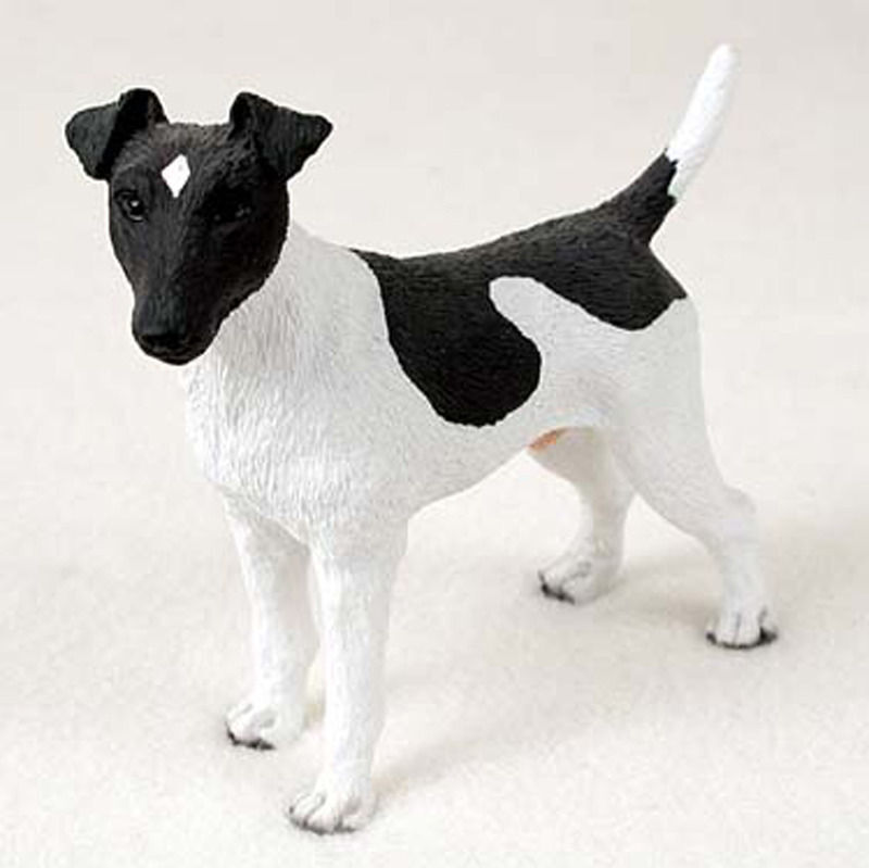 Fox Terrier Hand Painted Collectible Dog Figurine Statue Black ...
