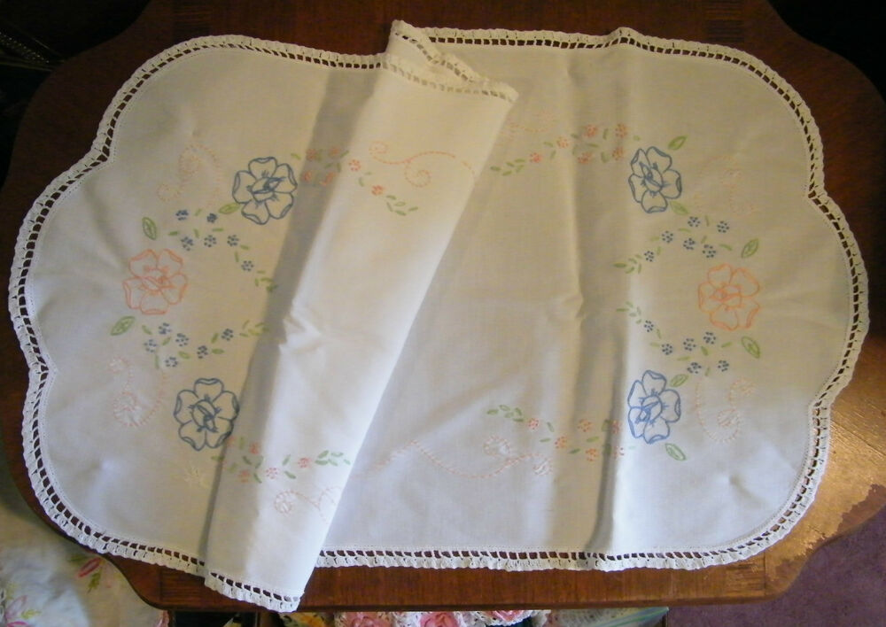 Free Crochet Patterns For Dresser Scarves : Collectible Embroidered Dresser Scarf Table Runner White ...