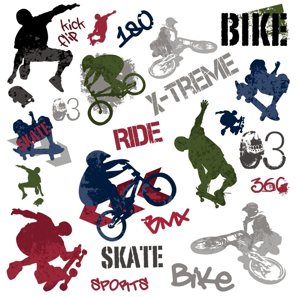 Extreme Sports 25 Big Wall Stickers Bmx Skate Room Decor
