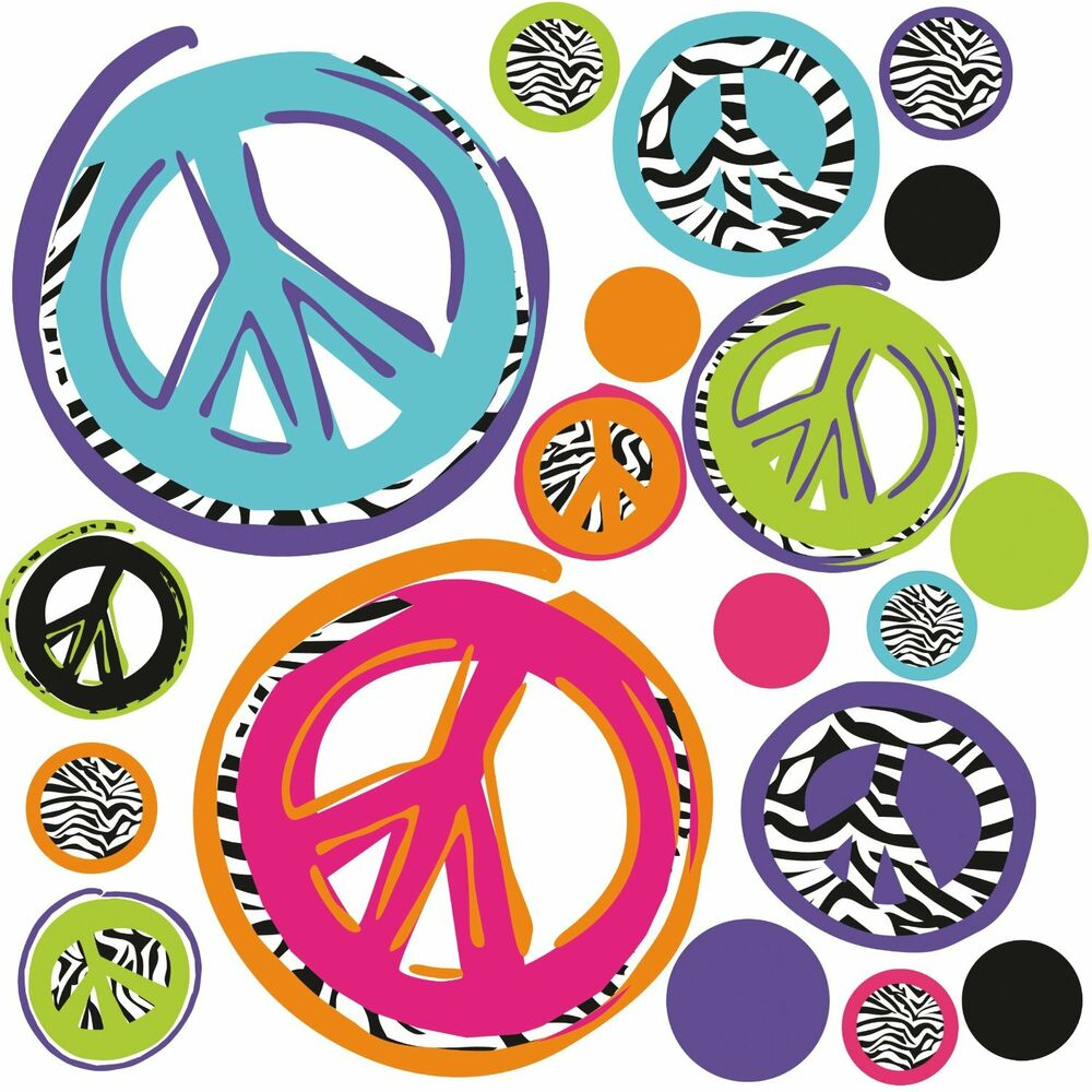 Zebra Peace Signs 26 Big Wall Stickers Room Decor Decals