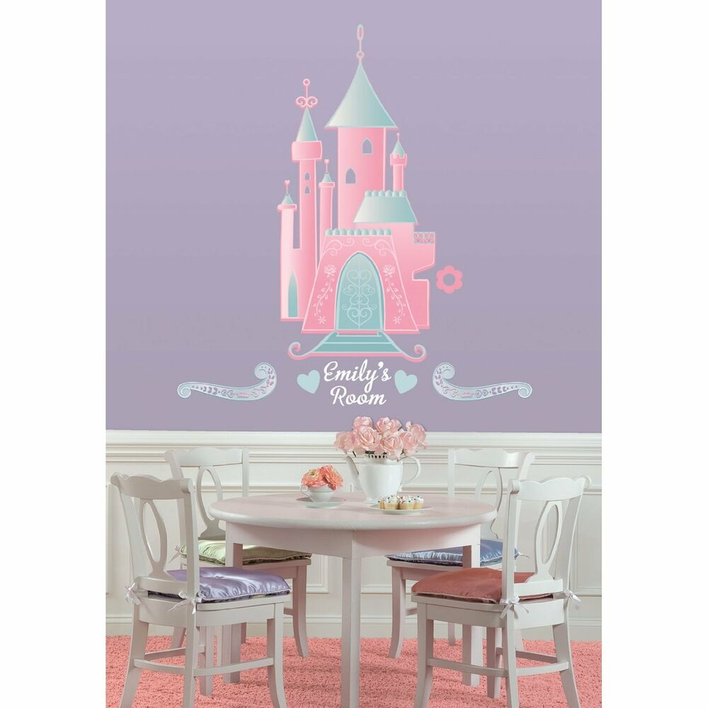 Disney princess castle big wall stickers personalized name for Disney princess mural stickers