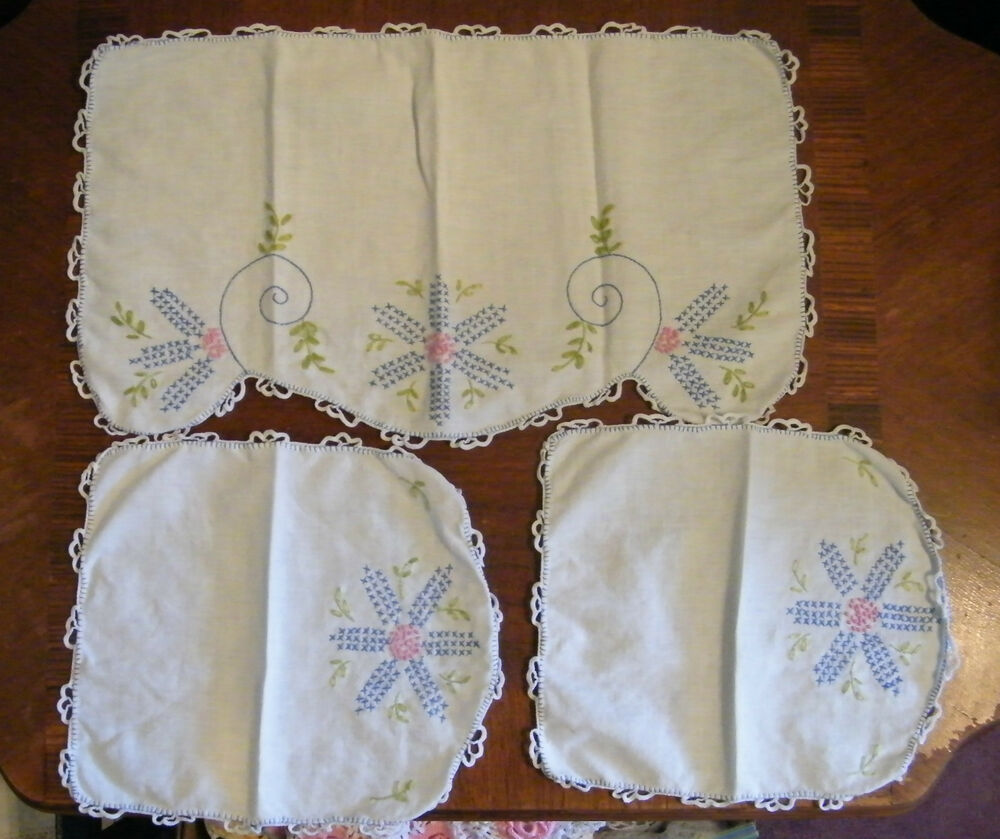 Free Crochet Patterns For Dresser Scarves : Collectible Embroidered Doily Dresser Scarf White ...