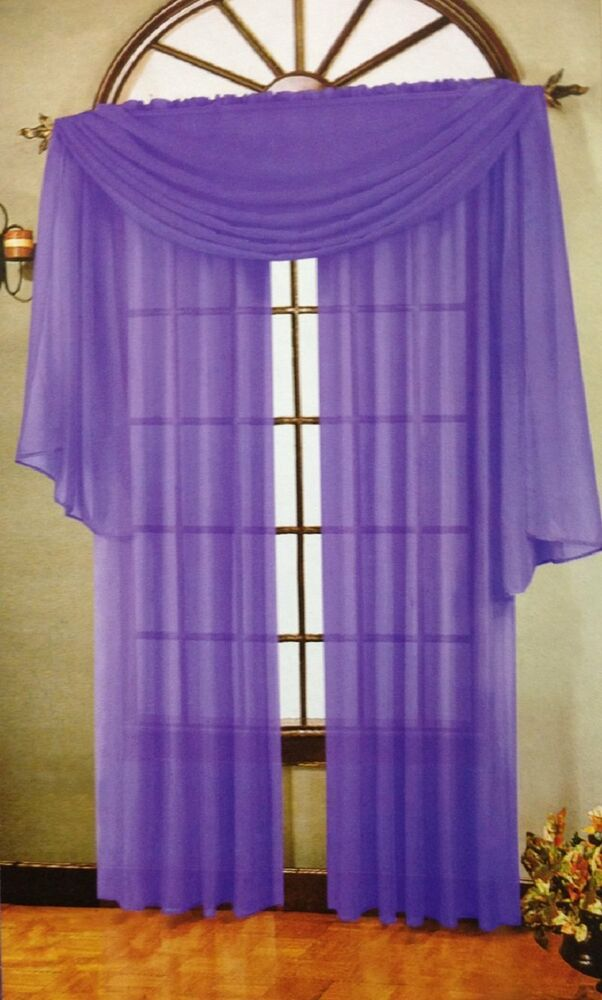 Set Of 2 Sheer Voile Curtains 90 034 Long Lilac Ebay