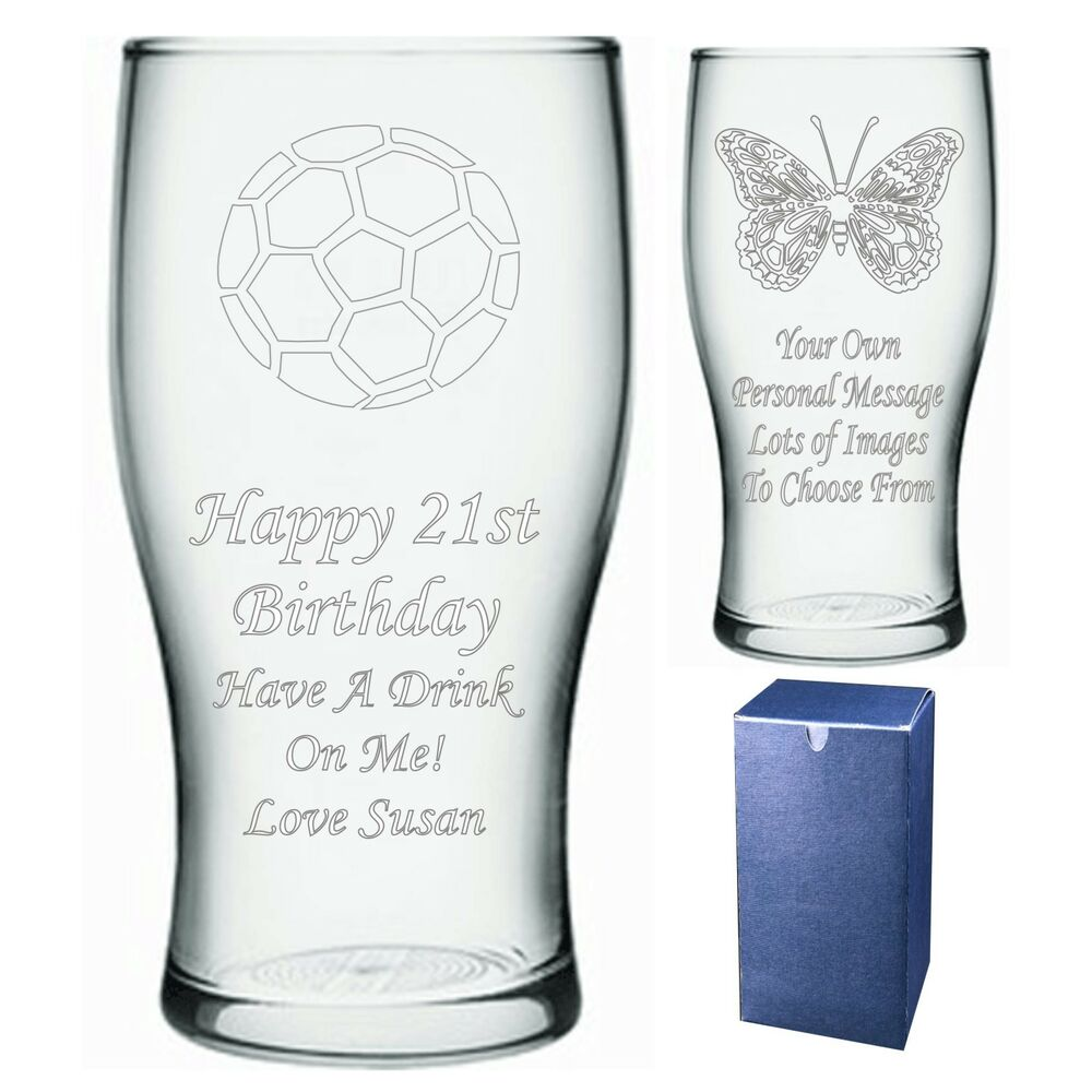 Engraved Pint Glass Personalised 18th 21st 30th Birthday