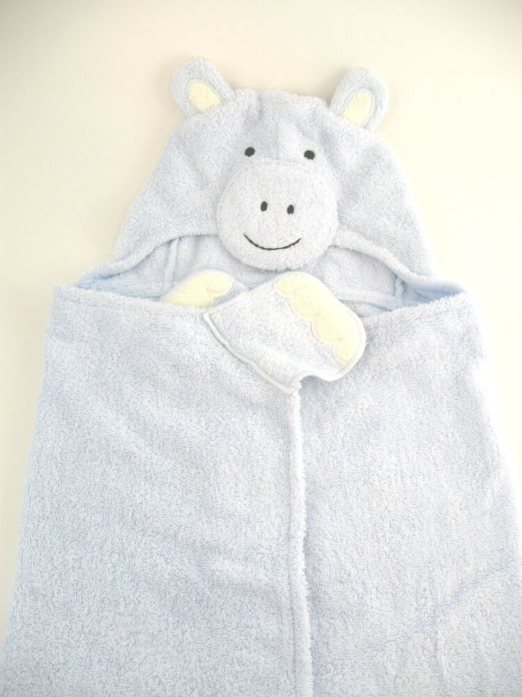 Pottery Barn Kids Nursery Hippo Hooded Blue Baby Bath