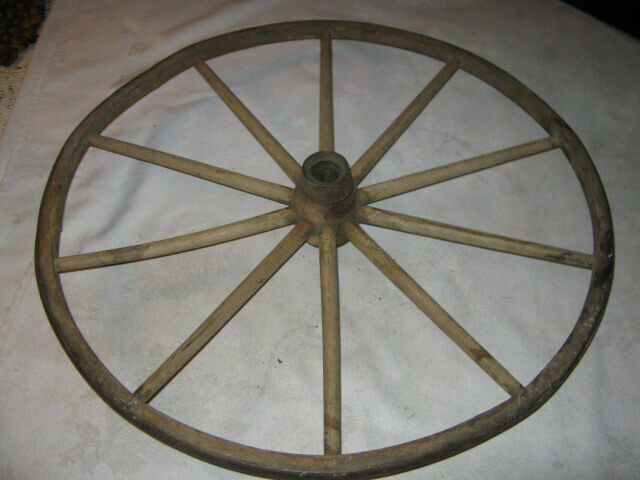 Primitive Antique Baby Carriage Buggy Wood Iron Wheel