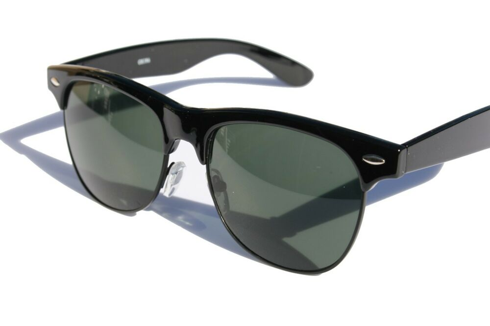 Black Round sunglasses with green tint lens 80's Vintage ...