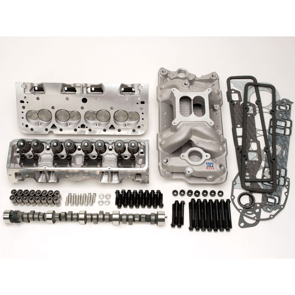 Trick Flow Super 23 195 Cylinder Head For Small Block: Edelbrock 2098 RPM Power Package Top End Kit 1957-86 Small