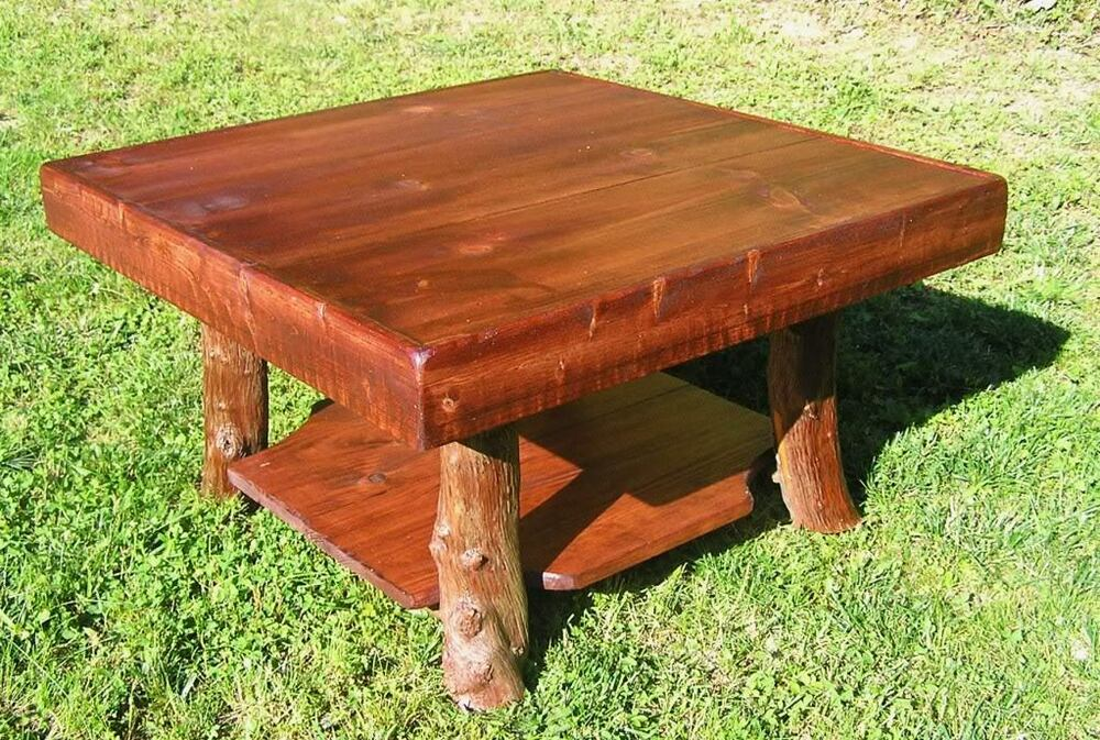 Rustic Red Pine Square Coffee Table W Shelf Log Cabin Furniture By J Wade Ebay