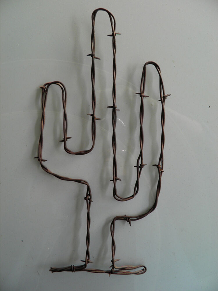 Rusty barbed wire cactus art quot tall cowboy rustic