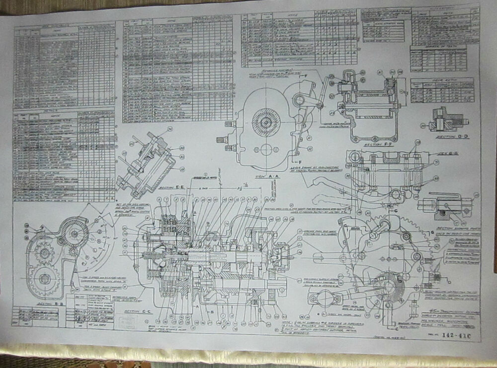 Harley Davidson 45 Flathead Transmission Blueprint Plans Hd Poster Print Parts