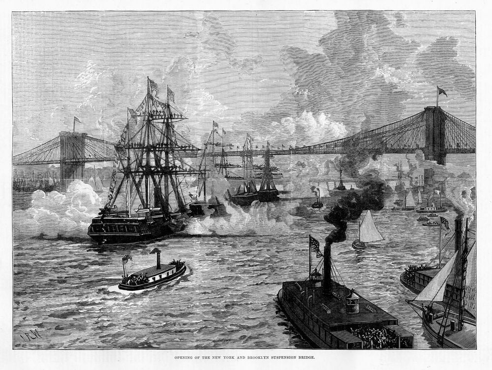 suspension bridge opening of the new york and brooklyn suspension bridge 1883 ebay. Black Bedroom Furniture Sets. Home Design Ideas