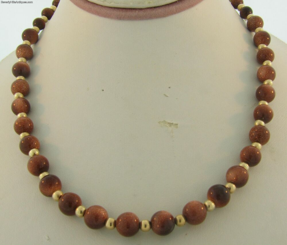 Vintage 14k gold bead and polished gold stone necklace ebay for What is gold polished jewelry
