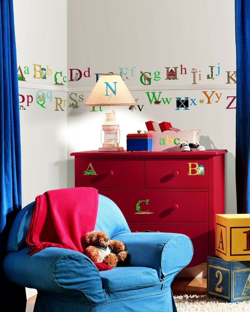 ALPHABET 73 BiG Wall Stickers ABC pictures Room Decor ...