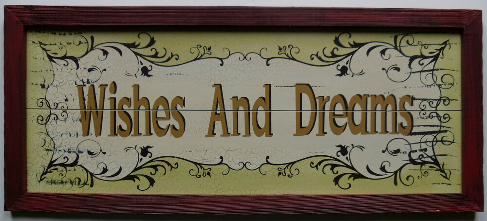 Dream Wood Wall Decor : New wishes and dreams wooden wall hanging sign rustic chic