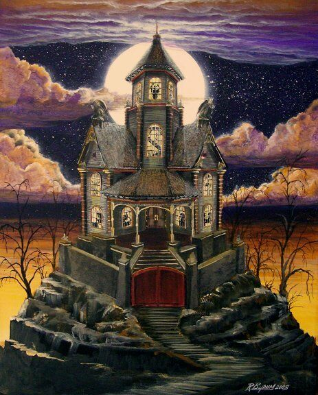 """Halloween Art Haunted House Witch Ghost Cat """"Gated Manor"""