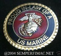 PROUD IN LAW OF A US MARINE HAT PIN IRAQ MOM DAD DAUGHTER USMC MCRD GRADUATION
