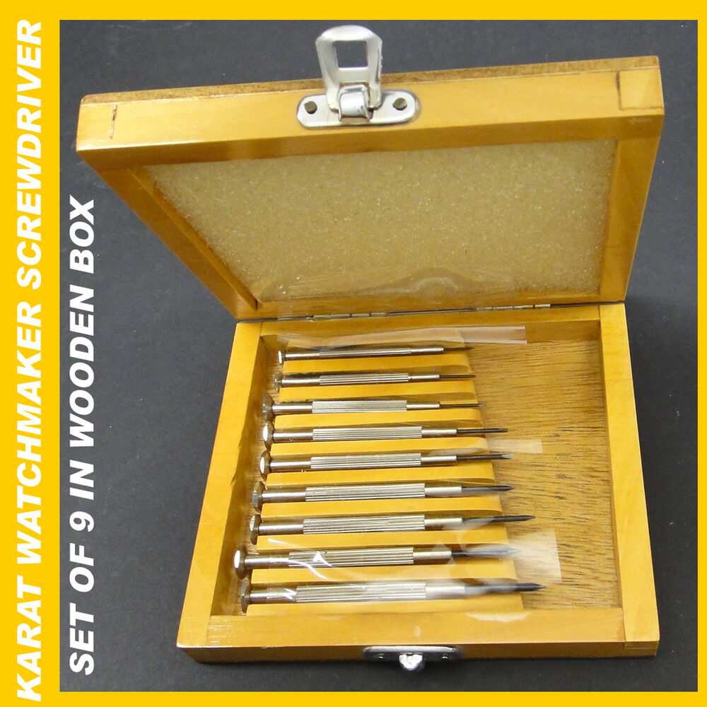 9 mini screwdrivers set wooden box watchmaker change batteries electronic camera ebay. Black Bedroom Furniture Sets. Home Design Ideas