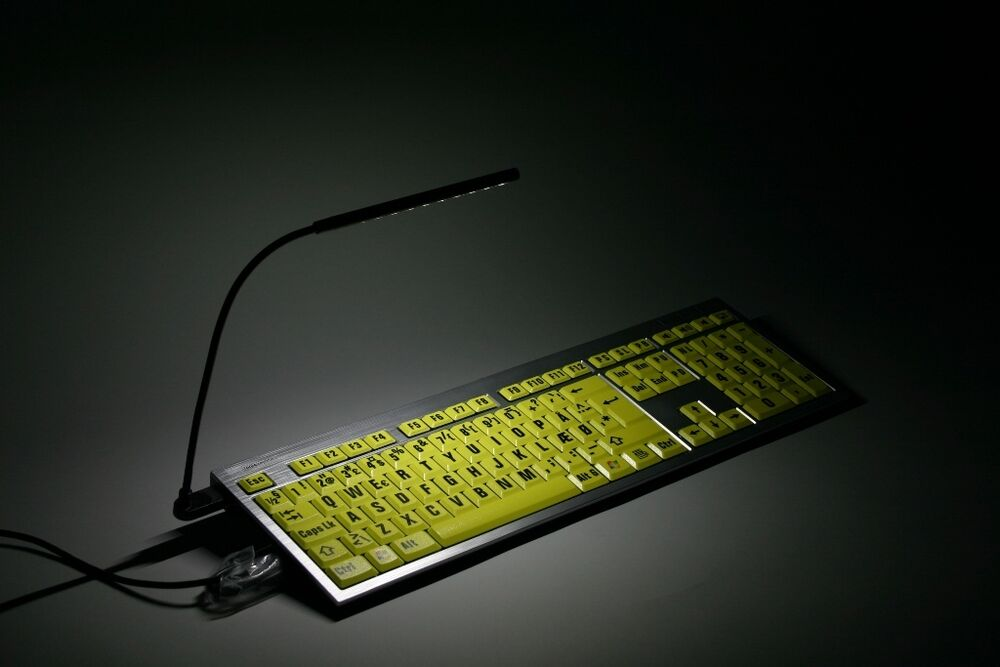 logiclight led keyboard light via usb black compatible usb keyboard laptop 845173002167 ebay. Black Bedroom Furniture Sets. Home Design Ideas