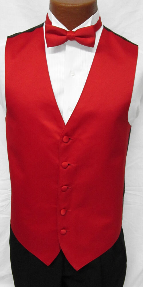 New Mens Bright Christmas Red Satin Fullback Tuxedo Vest
