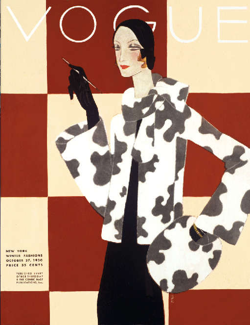 Vogue Deco Fashion Elegant Fur 1930's mag cover art poster ...