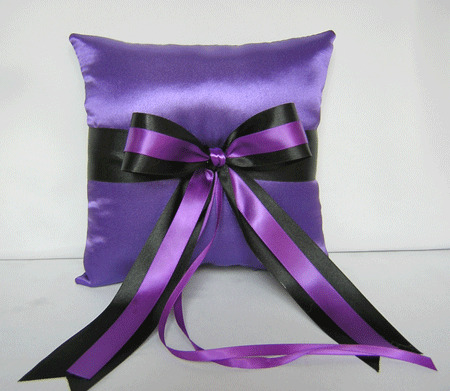 Purple And Black Ring Bearer Pillow