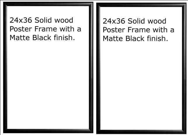 two 2 24x36 wood matte black finish poster frame 36 x 24 ebay. Black Bedroom Furniture Sets. Home Design Ideas