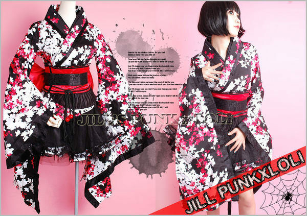 Lolita Goth Japan Geisha 4pc Flora Kimono Sexy Dress LQ001 ...
