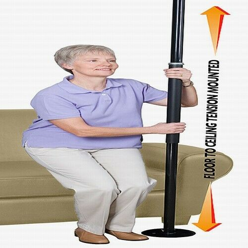 Standers 1150b Black Room Bed Security Pole Grab Bar Stand
