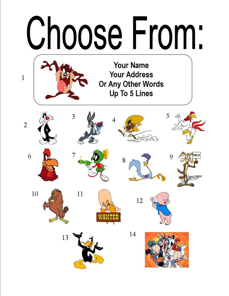 This is a graphic of Versatile Looney Tunes Character Pictures and Name