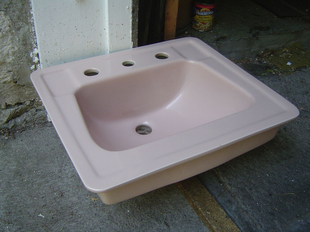 standard drop in bathroom sink 20 x 18 venetian pink porcelain only ebay