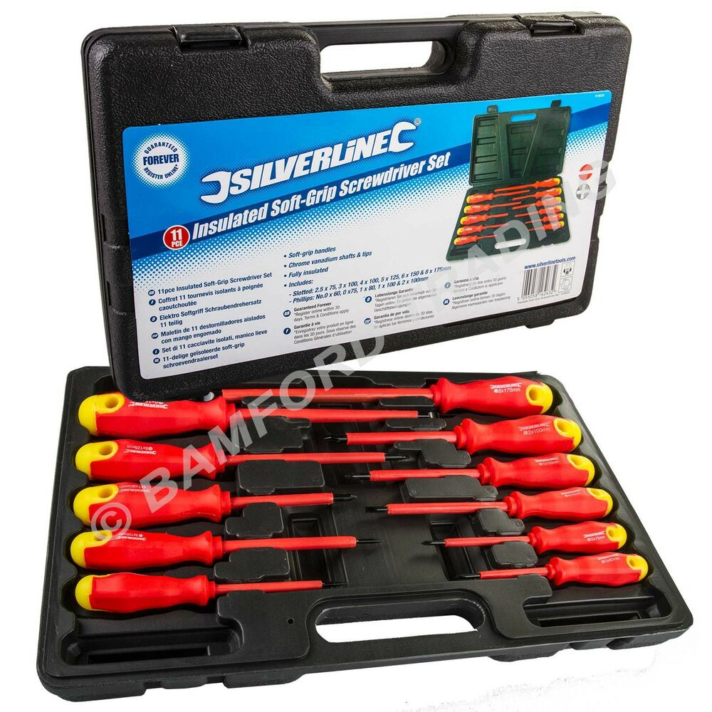 electricians screwdriver set tool electrical fully insulated 11 pc with kit case ebay. Black Bedroom Furniture Sets. Home Design Ideas