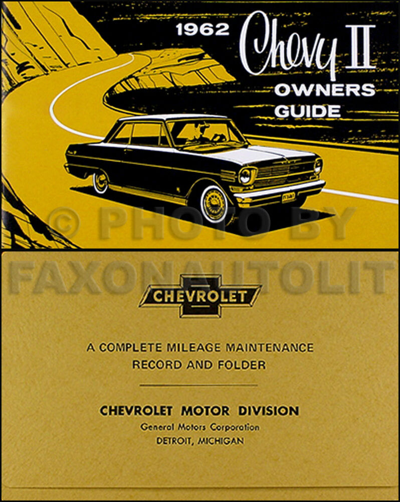 1962 Chevy II and Nova Owners Manual with Envelope 62 Chevrolet Owner Guide  Book | eBay