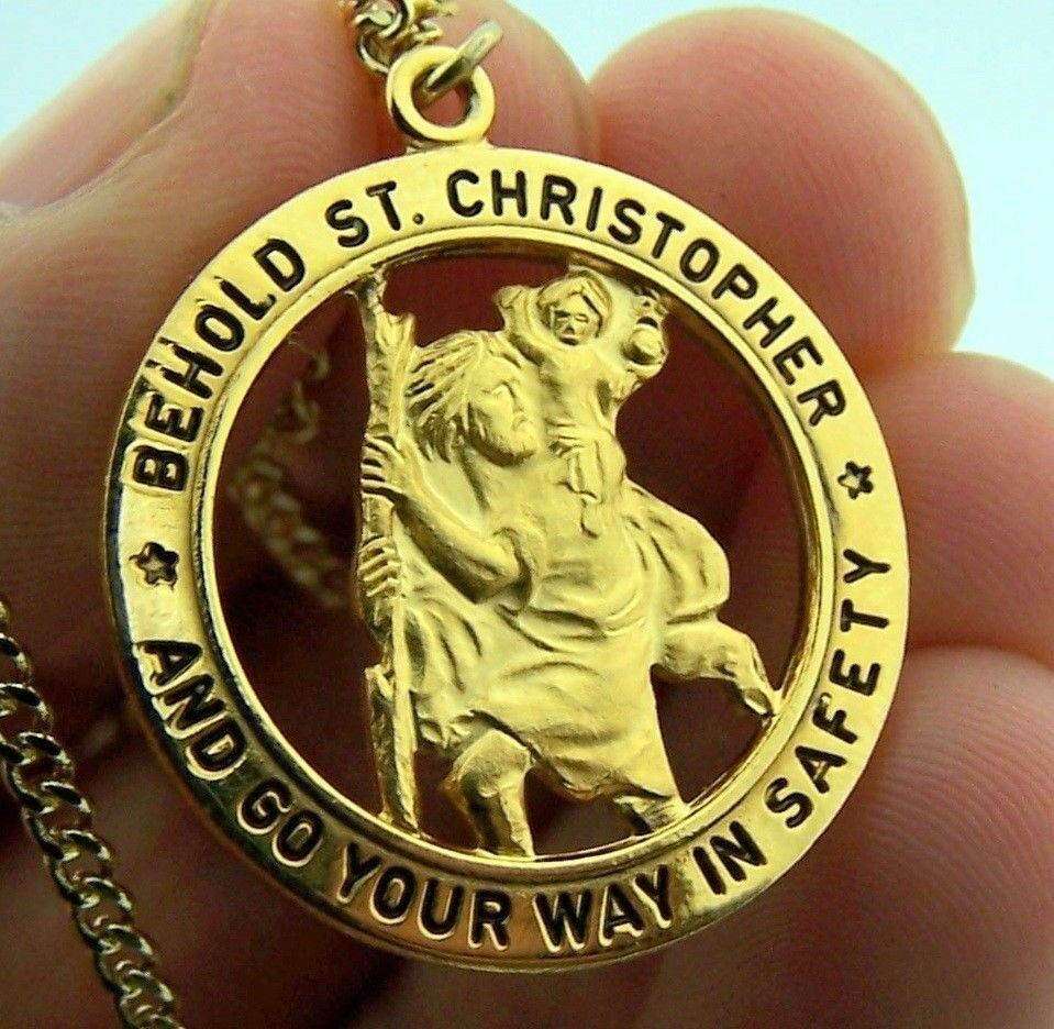 1 Quot Size St Saint Christopher Medal Travel Gold Solid