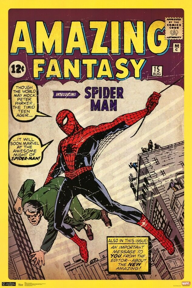 spiderman amazing fantasy classic 24x36 comic book poster. Black Bedroom Furniture Sets. Home Design Ideas