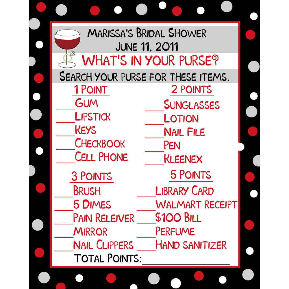 What S In Your Wallet Purse: 24 Personalized Bridal Shower WHAT'S IN YOUR PURSE Cards