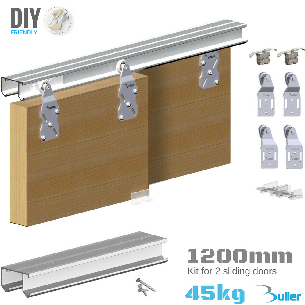 Homemade Sliding Door Closer: Wardrobe Double Top Hung Sliding Door Gear 45kg 1200mm