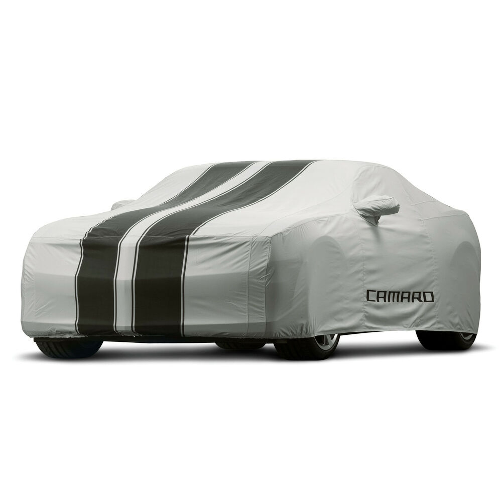 10 15 camaro coupe car cover outdoor gray black stripes gm new 92215994 ebay. Black Bedroom Furniture Sets. Home Design Ideas