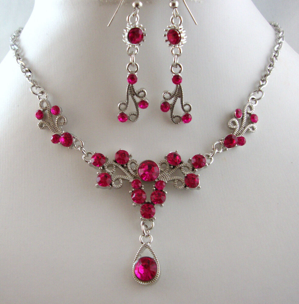 Silver Tone Hot Pink Crystal Small Teardrop Necklace Set