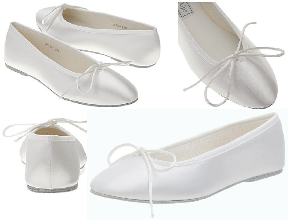 NEW Ballet Bridal White Satin Flats Soft Comfort Dyeable Shoes Medium Or Wide