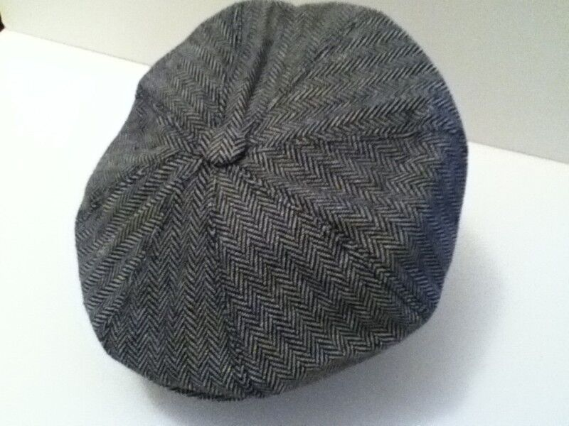 Mens Retro 1920 S Style Grey Herringbone Baker Boy Cap