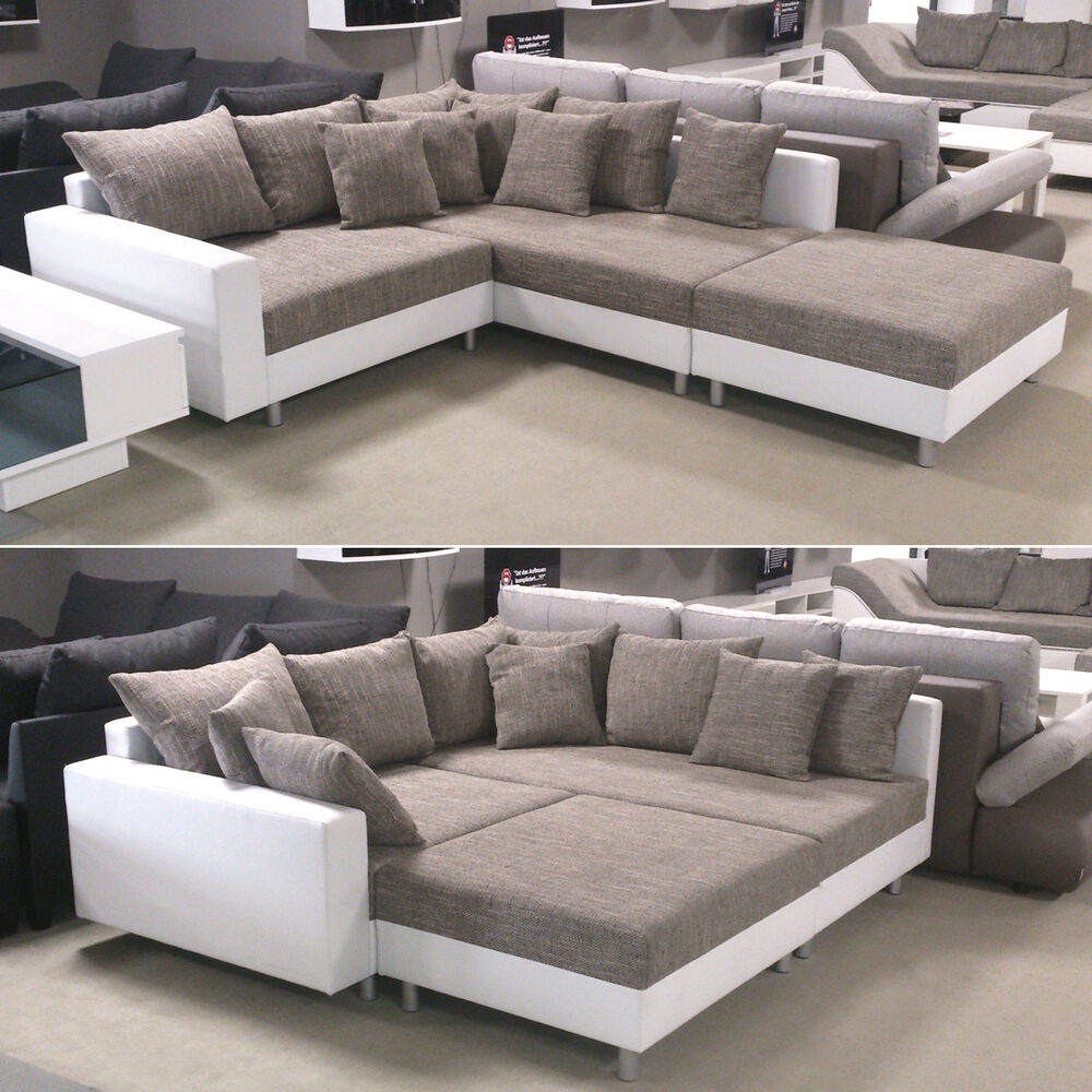 ecksofa claudia wohnlandschaft ottomane rechts sofa mit hocker wei graubeige ebay. Black Bedroom Furniture Sets. Home Design Ideas