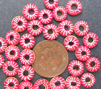 1;12 Scale 7 Red & White Iced Doughnuts Dolls House Miniatures Bakery Food S11