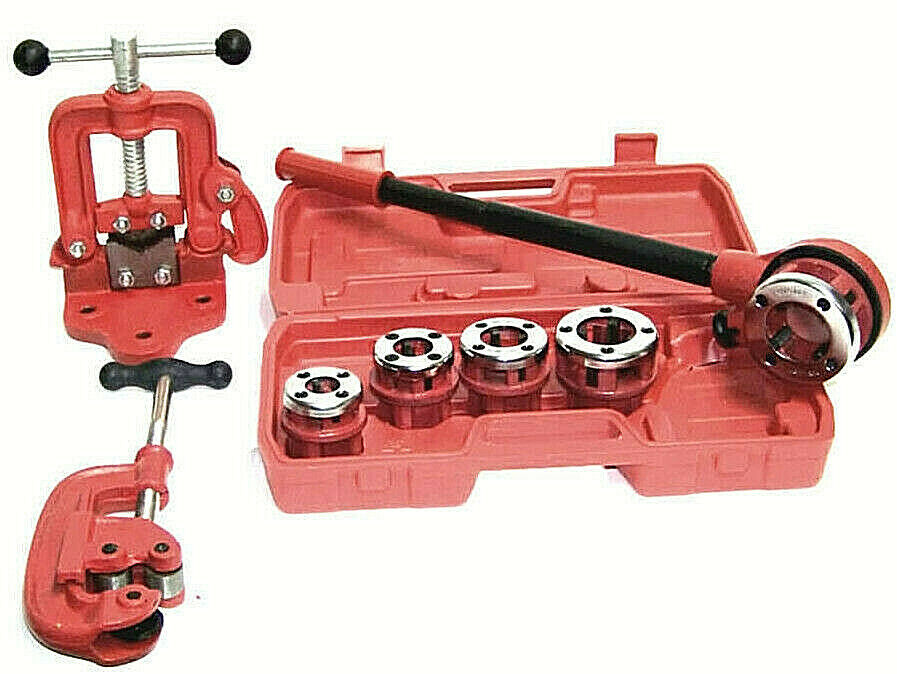 Ratchet pipe threader with dies and cutter