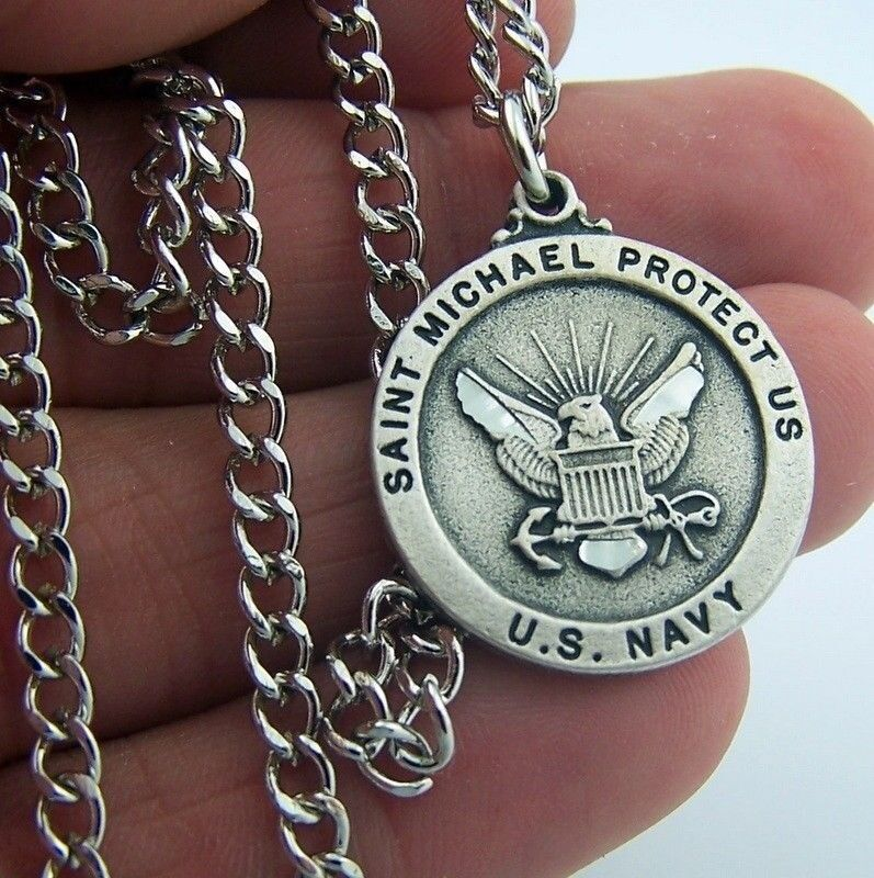 Mens Silver Pewter USA Navy Saint St Michael Military Protection Medal W Chain N | eBay