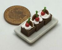1:12 Ceramic Tray Of 3 Chocolate Cakes Dolls House Miniature Accessory PL66
