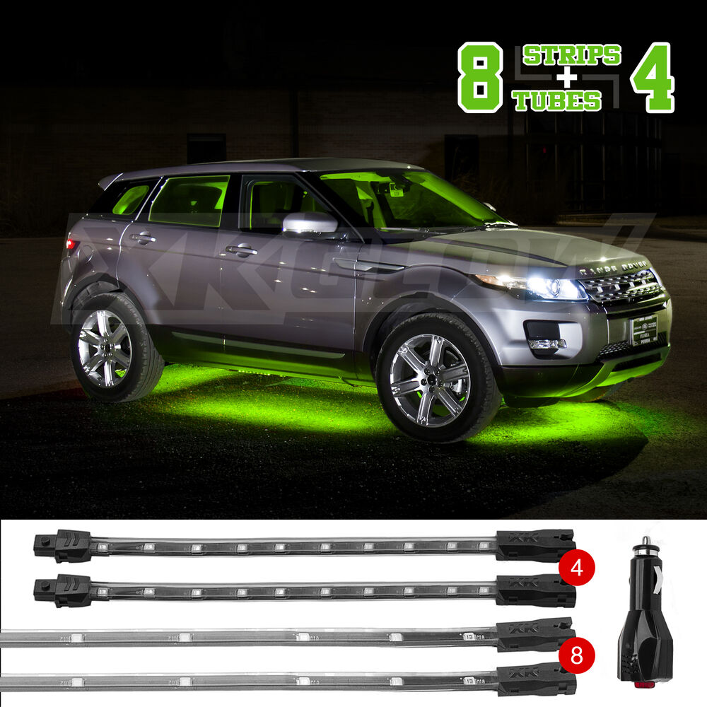 New led neon accent lighting kit for car truck underglow interior 3 mode green ebay for Interior accent lights for cars