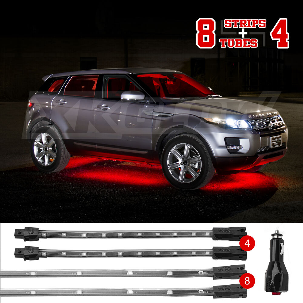 Red 12pc premium exterior interior led accent neon light kit all car truck leds ebay for Interior neon lights for trucks