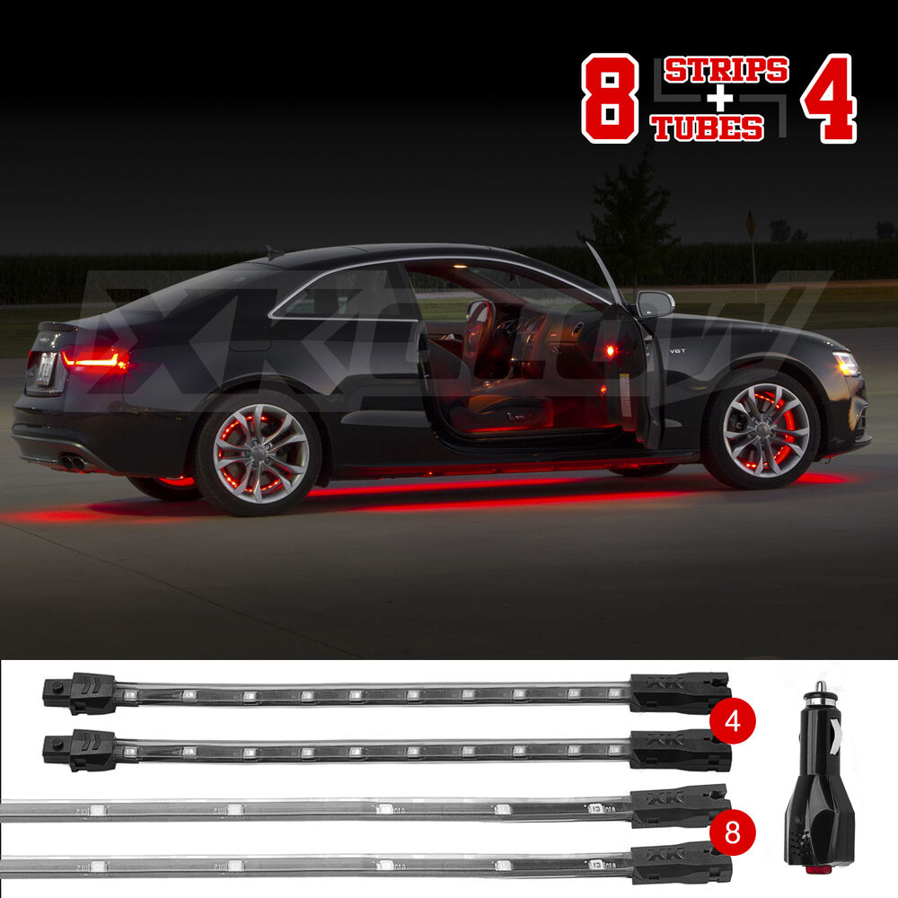 red led undercar interior accent neon light kit w 3 mode memory 12pc tube ebay. Black Bedroom Furniture Sets. Home Design Ideas